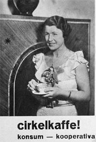 Reklam för Cirkelkaffe från 1935 som fram till 1990-talet rostades i Gäddviken