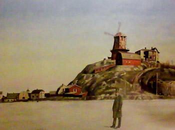 Danviksklippan med Hovings färgkvarn, ladugård, arkitektvillan och smedjan nedanför