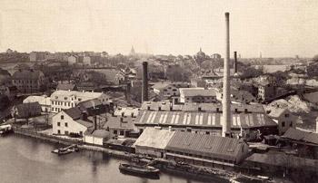 Liljeholmens stearinfabrik i Danvikstull mittemot Danviksklippan