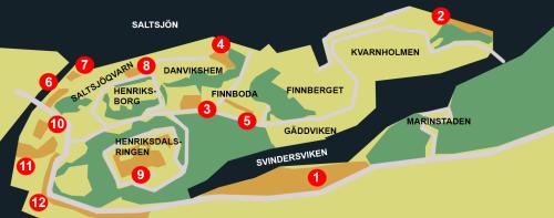 Parker och andra rekreationsområden i Henriksdal, Kvarnholmen, Saltsjöqvarn, Danviken, Finnboda och Svindersviken