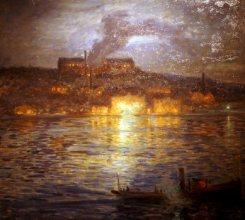 Prins Eugens tavla av brinnande linoljefabriken i Henriksborg