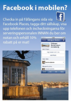 Checka in från Fåfängan café på Facebook places - Vastra Sicklaon