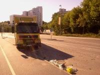Krockad flyttbil på Kvarnholmsvägen, Nacka