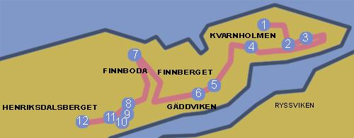 karta för natur- och kulturvandringen kvarnholmen - henriksdal 2012