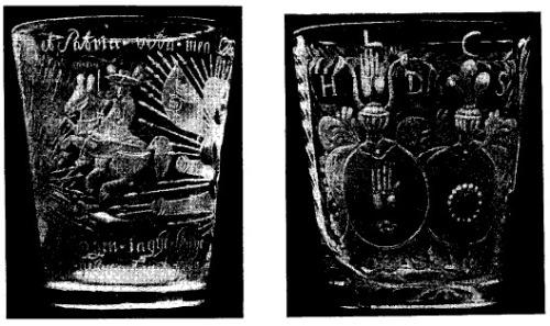 två glasbägare från 1600-talet