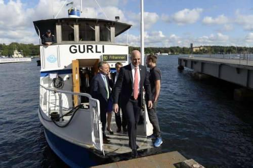 Alliansen fyra partiledare tog MS Gurli till Finnboda (bild: Jonas Leander)