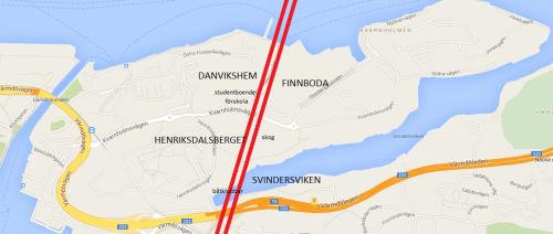 Möjlig dragning av Österled via Danvikshem, Finnboda, Henriksdalsberget och Svindersviken