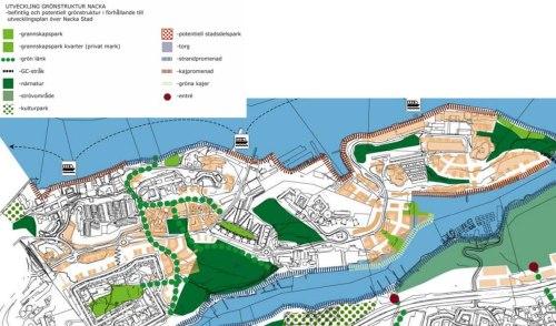 planerade grönområden och bebyggelse på Västra Sicklaön i Nacka