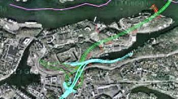 Österleden dras under Kvarnholmen, Finnberget, Henriksdalsberget och Svindersviken