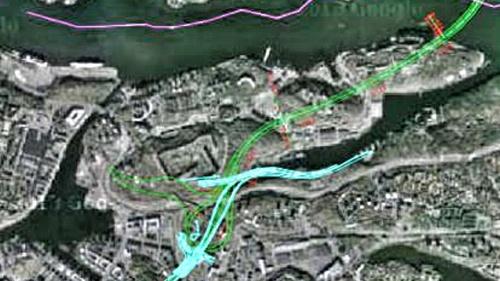 Möjlig dragning av Östra förbindelsen via Kvarnholmen, Finnberget, Finnboda och Henriksdalsberget.
