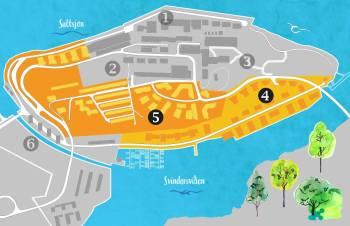 Områden för detaljplan 4 och 5 på Kvarnholmen i Nacka
