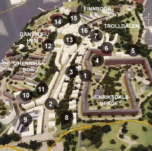 3D-modell av Nacka bygger stad i Henriksdal, Henriksdalsberget, Finnboda, Henriksborg och Danvikshem