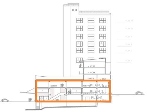 Närcentrumet i spisbrödsfabriken på Kvarnholmen på nedersta fyra planen samt bostäderna ovanfrö