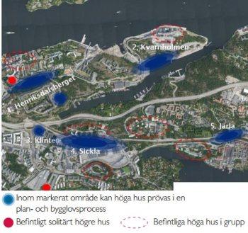 områden på västra sicklaön i nacka där höghus kan byggas (bild: stadsbyggnadsnytt)