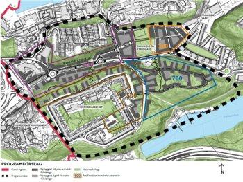 Karta med planförslag för Henriksdal med Henriksborg, DanvikCenter, skogen Trolldalen och Finnboda