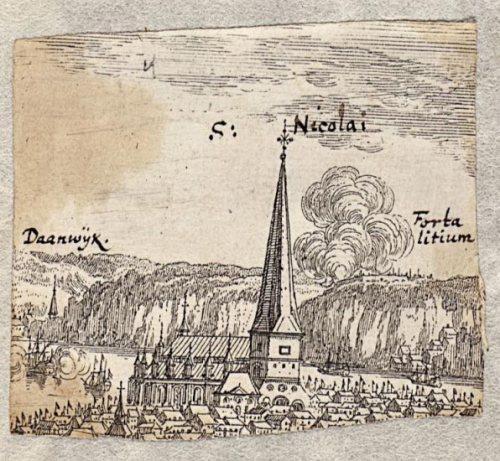 Danviken i Erik Dahlberghs gravyr av Storkyrkan från nordväst