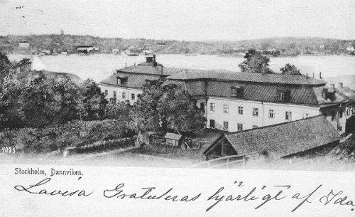 Vykort visar Danviks hospital