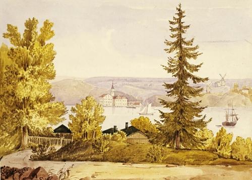 Danviken på en målning från andra sidan Saltsjön. Väderkvarnen syns otydligt höger om granen nedanför färgkvarnen på Danviksklippan