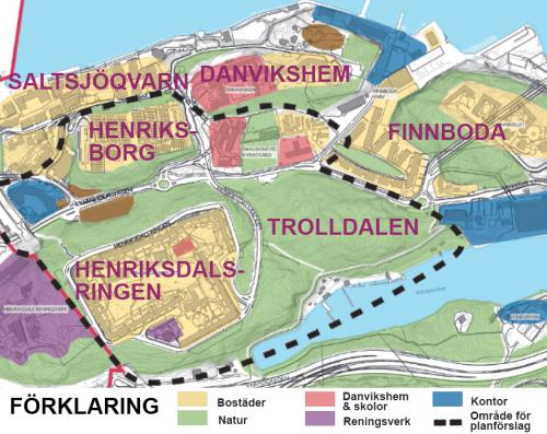 Karta med dagens begyggelse och natur i Henriksdal, Trolldalen, Finnboda och Henriksborg
