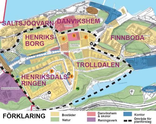 Karta som visar bebyggelse och natur år 2030 i Henriksdal, Trolldalen, Finnboda och Henriksborg