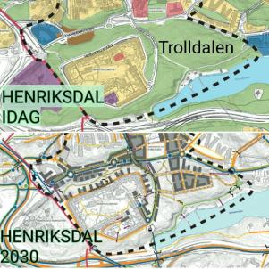 Karta visar dagens grönområden i Henriksdal & Trolldalen i Nacka och hur dessa ska bebyggas fram till 2030