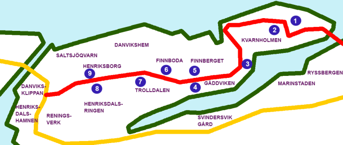 Bostadsområden och skolor som ligger nära Kvarnholmsvägen (rött) 2030: Kvarnholmens platå (1), Kvarnholmsskolan (2), centrumet i Spisbrödsfabriken (3), nya bostadsområdet i Gäddviken (4), nya bostadsområdet i Trolldalen, nya bostadsområdet i Finnboda och runt Vilans skola (5), samt stadsgatan mellan Henriksborg och Henriksdalsberget (6).