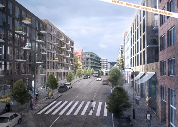 Illustration visar hur Kvarnholmsvägen skulle kunna se ut enligt planprogrammet för Henriksdal