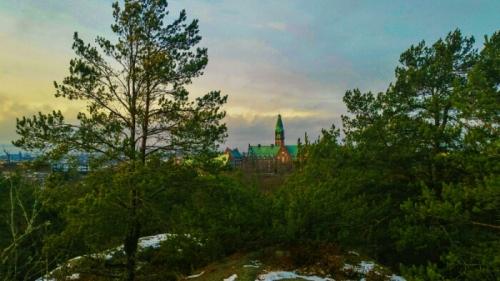 Danvikshem från krönet i skogen Trolldalen där Nacka kommun vill bygga bostäder och bilvägar.