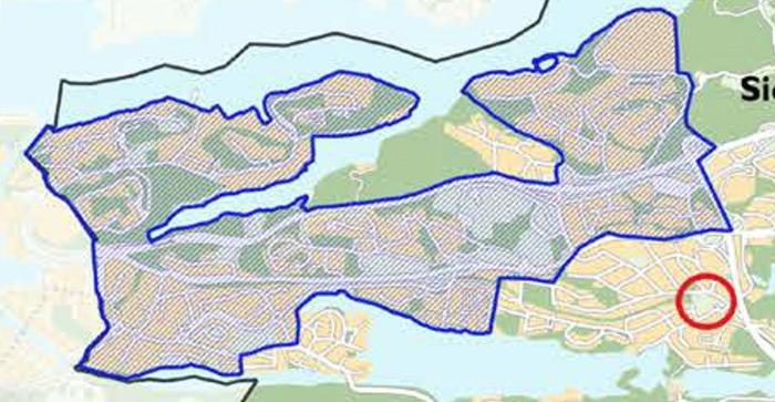 Karta med Nacka kommuns översiktsplan där all natur och rekreationsytor på Västra Sicklaön ska bebyggas