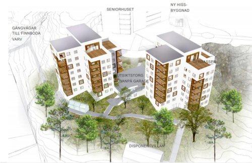 De två östra husen som HSB vill uppföra norr om befintliga seniorhuset där grannarna idag har sitt rekreationsområde