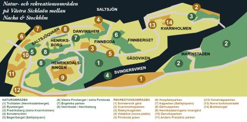 Naturområden och rekreationsytor på Kvarnholmen, Henriksdal, Finnboda och Saltsjöqvarn