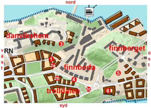 Karta över framtida byggprojekt runt Finnboda i Nacka.
