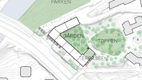 Karta med placering av planerade byggnaderna på Bageriberget i Saltsjöqvarn