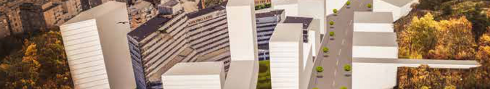 Illustration visar planerade höghus runt Danvikcenter, Henriksdal och Henriksborg