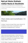 Exempel av annons i nyhetsinlägg (mobilt)