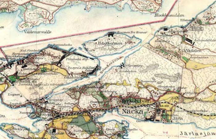 häradskarta över nacka från 1901