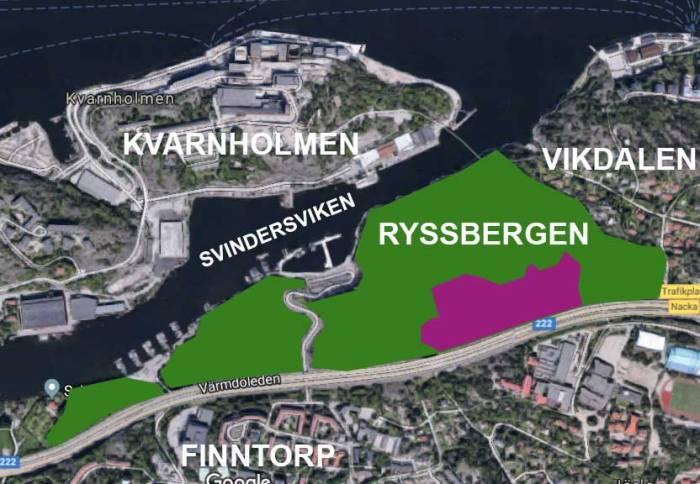 Ryssbergen (grönt) med delen som Nacka kommun vill exploatera (lila)