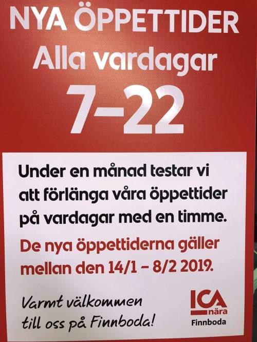 ICA Nära Finnbodas öppettider på vardagar