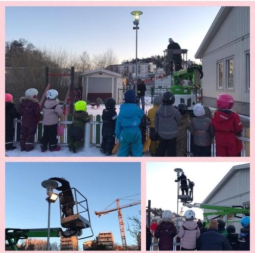 Nya lampor på förskolan i Fimnboda