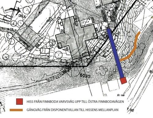 Förslag på hiss mellan Finnboda och seniorboendet