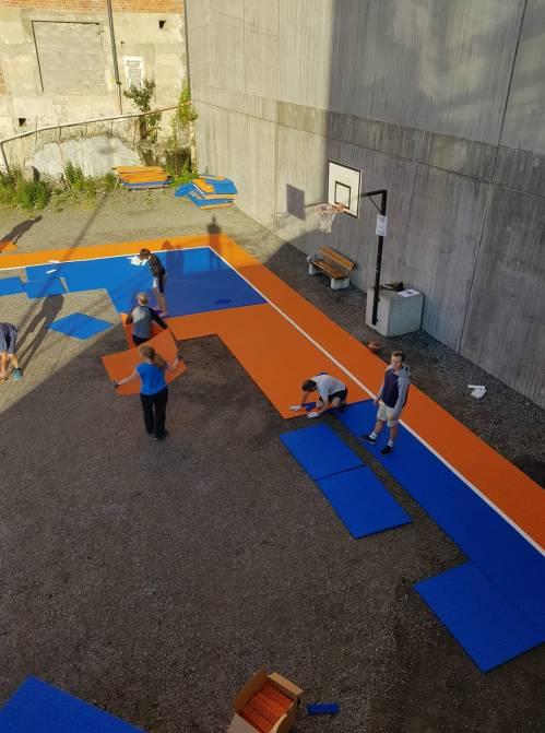 Renovering av 3x3 basketplan på Kvarnholmen i Nacka
