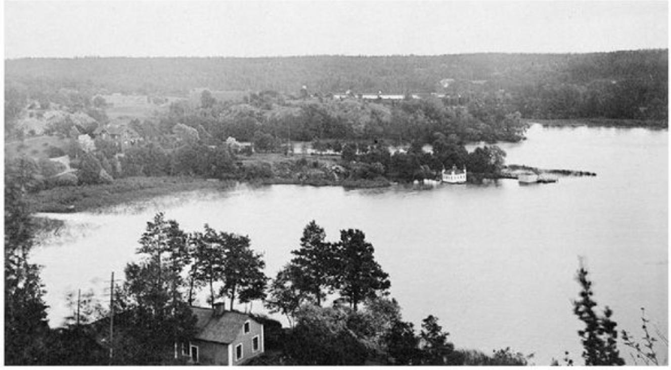 Fanny Udde sett från Henriksdalberget innan sänkningen av Hammarby sjö